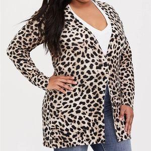 Torrid Cheetah Cardigan size 0(12)